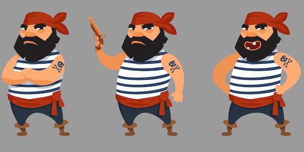 Brodaty pirat w różnych pozach. męska postać w stylu cartoon.
