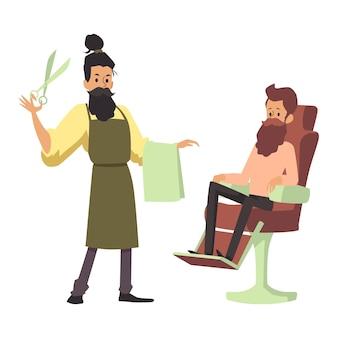 Brodaty postaci z kreskówek fryzjera z nożyczkami i ręcznikiem i klientem siedzącym na krześle