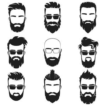 Brodaty stylowy hipster mężczyzn stoi godło logo z innym stylem fryzury