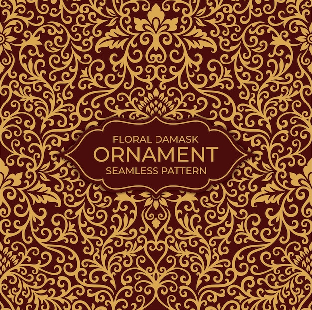 Brokat Kwiatowy Ornament Kwiatowy Wzór Premium Wektorów