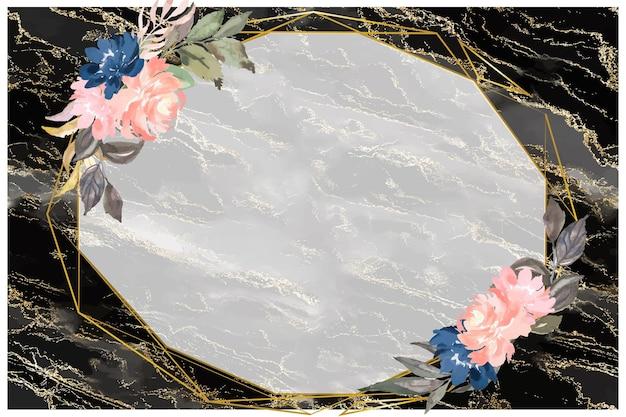 Brokat na czarnym marmurze z kwiatowym tłem