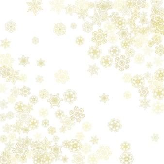 Brokat ramki płatki śniegu na białym tle. zimowe okno. błyszcząca ramka na boże narodzenie i nowy rok na bon upominkowy, reklamy, banery, ulotki. padający śnieg ze złotymi brokatowymi płatkami śniegu na zaproszenie na przyjęcie