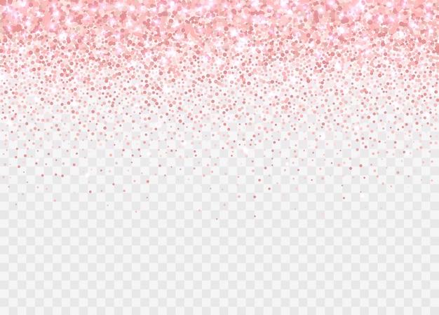 Brokat różowego złota partickles na białym tle. efekt migotania różowego tła na kartki urodzinowe, zaproszenia ślubne, szablony walentynkowe itp. spadające musujące konfetti.