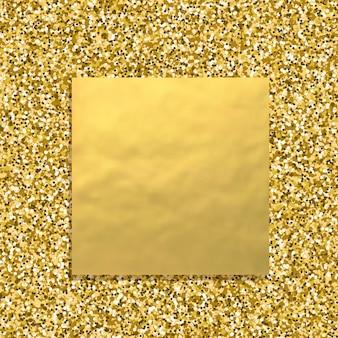 Brokat złote tło z kwadratowym złotym sztandarem, musujące tekstury pyłu