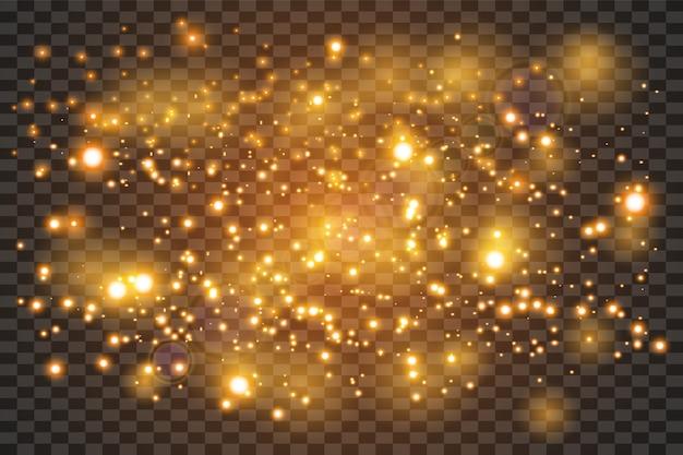 Brokat złoty proszek tło powitalny. złoty pył. magiczna mgła świeci.