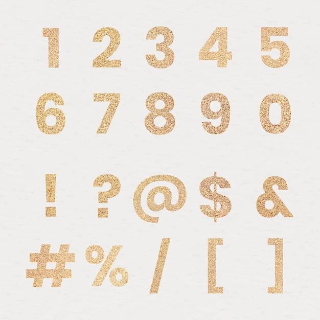 Brokatowa kolekcja cyfr i znaków