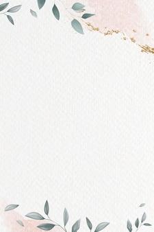 Brokatowa różowa ramka liściasta