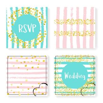 Brokatowe konfetti ślubne na paski. zestaw zaproszeń. złote serca i kropki na różowym i miętowym tle. zaprojektuj z brokatem ślubnym na imprezę, wydarzenie, wieczór panieński, zapisz kartę z datą.