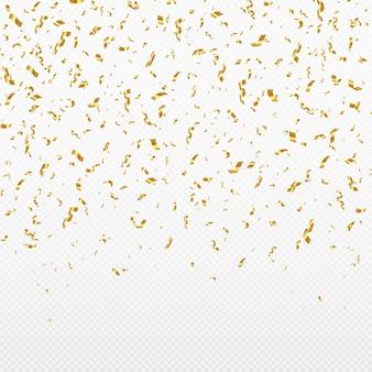 Brokatowe złote konfetti spadające na przezroczyste tło