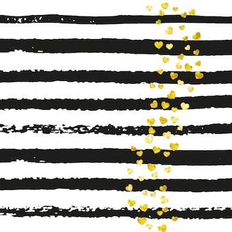 Brokatowe złote konfetti z serduszkami w czarne paski. losowo opadające cekiny z metalicznym połyskiem. projekt ze złotym brokatem konfetti