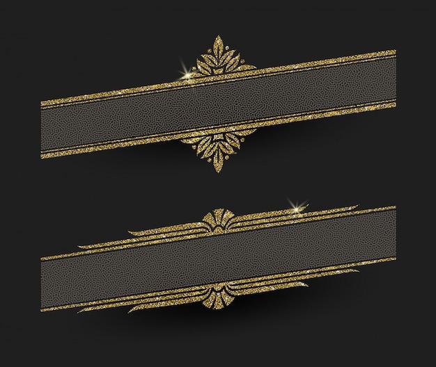 Brokatowe złote ramki dekoracyjne - ilustracja