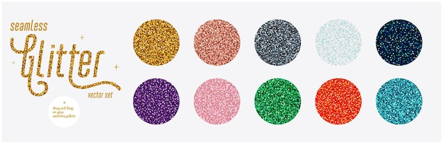 Brokatowy zestaw bez szwu błyszczące bezszwowe kolorowe tła z migoczącą teksturą