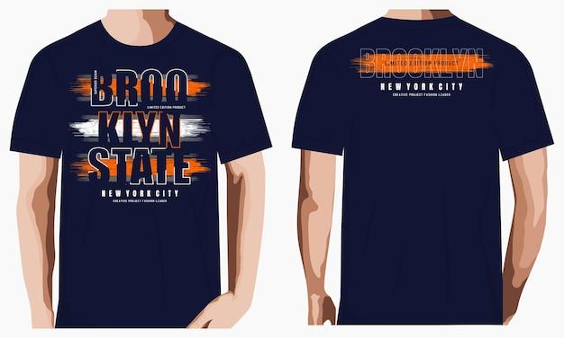 Brooklyn graficzna typografia t shirt ilustracja premium wektorów