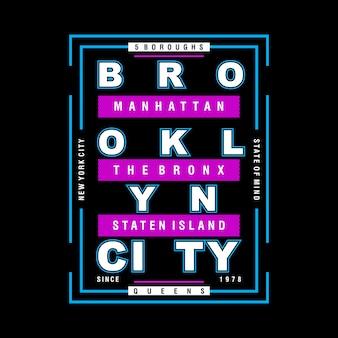Brooklyn graficzny fajny projekt typografii wektor