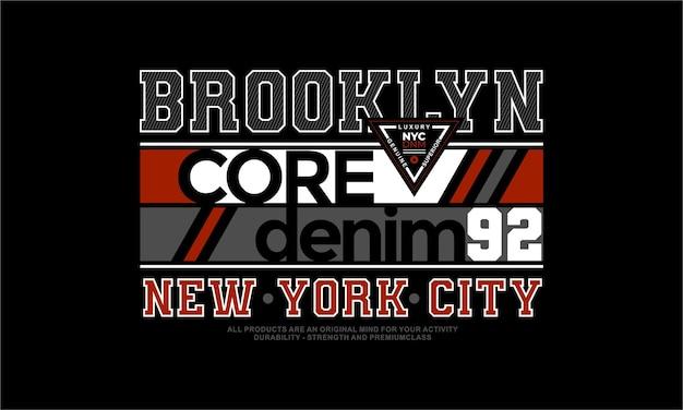 Brooklyn graficzny projekt koszulki typografia wektor premium