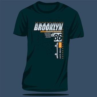 Brooklyn new york city napis graficzny t shirt typografia ilustracji wektorowych