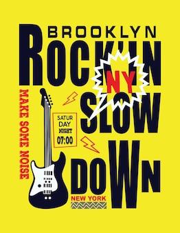 Brooklyn new york muzyka typograficzny wektor