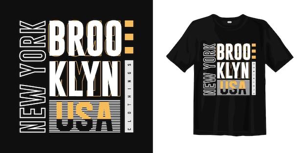 Brooklyn, nowy jork, usa. modny projekt koszulki typografii