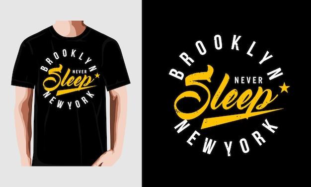 Brooklyn t shirt projekt typografii wektor premium wektorów