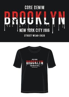 Brooklyn typografia do koszulki z nadrukiem