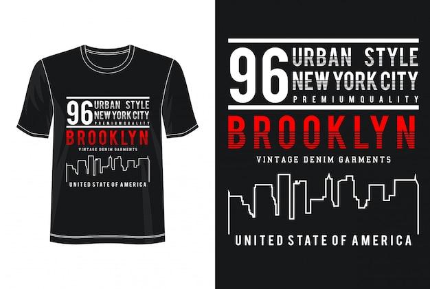 Brooklyn typografia do nadruku t shirt