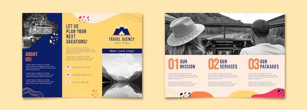 Broszura abstrakcyjnego wiejskiego biura podróży