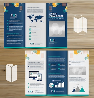 Broszura biznes tri krotnie ulotki ulotki wektor wzór