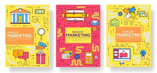 Broszura biznesowa karty cienka linia zestaw. szablon marketingowy ulotek, czasopism, plakatów, okładek książek, banerów. nowoczesne ilustracje konspektu układu
