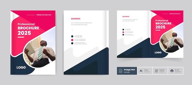 Broszura biznesowa projekt okładki szablon tematyczny kolorowy nowoczesny abstrakcyjny układ broszury bifold