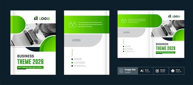 Broszura biznesowa projekt okładki szablon tematyczny kolorowy nowoczesny minimal bi fold broszura korporacyjna