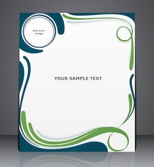 Broszura biznesowa układu wektor, okładka magazynu, reklama internetowa lub szablon korporacyjny reklama w kolorach niebieskim i zielonym