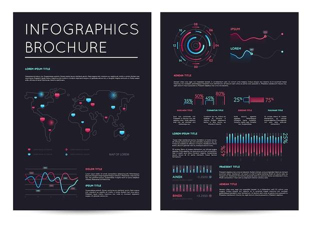 Broszura finansowa z różnych infografiki