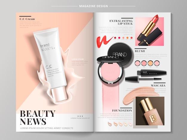 Broszura kosmetyczna zawierająca produkty takie jak tusz do rzęs