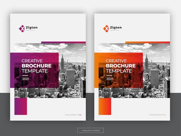 Broszura kreatywna obejmuje szablon ulotki raportu rocznego