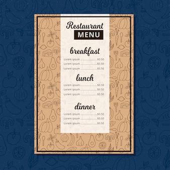Broszura menu restauracji cafe.
