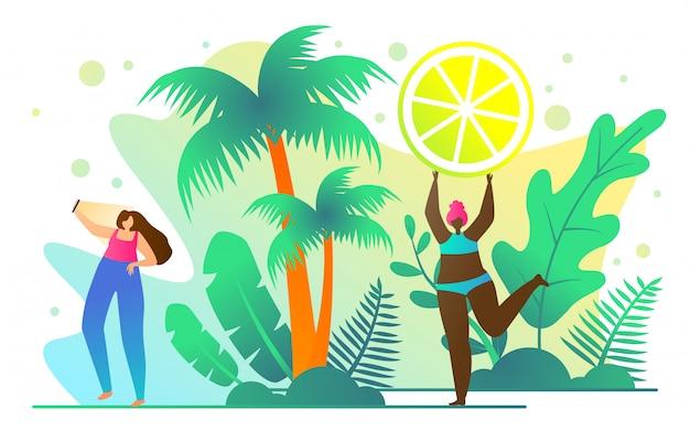 Broszura podróżna dla aktywnych dziewcząt cartoon flat. pomysły zróżnicowane na lato