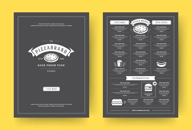 Broszura projektu układu menu restauracji pizzy