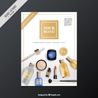 Broszura realistycznych produktów kosmetycznych