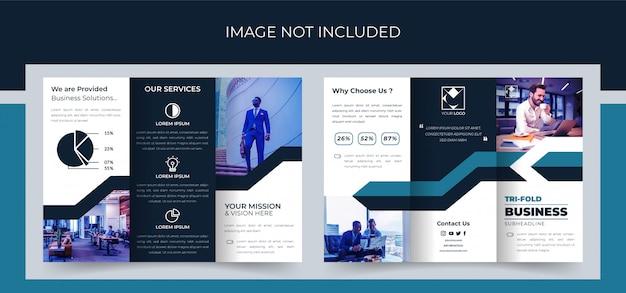Broszura składana na trzy części, projekt broszury biznesowej w trzech częściach, broszura korporacyjna składana na trzy części premium