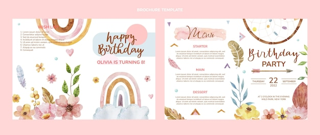 Broszura urodzinowa z akwarela boho