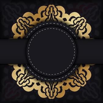 Broszura w ciemnym kolorze ze złotym abstrakcyjnym wzorem