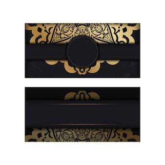 Broszura w ciemnym kolorze ze złotym greckim wzorem