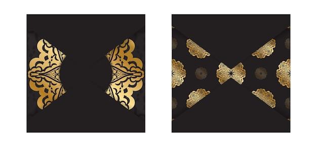 Broszura w ciemnym kolorze ze złotym indyjskim ornamentem