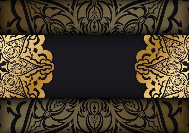 Broszura w ciemnym kolorze ze złotym ornamentem vintage