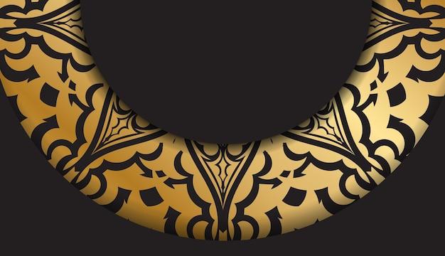 Broszura w ciemnym kolorze ze złotym wzorem vintage