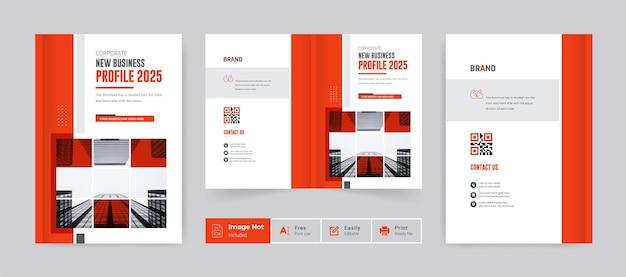 Broszura w kolorze pomarańczowym szablon projektu okładki profil firmy raport roczny strona tytułowa nowoczesny motyw