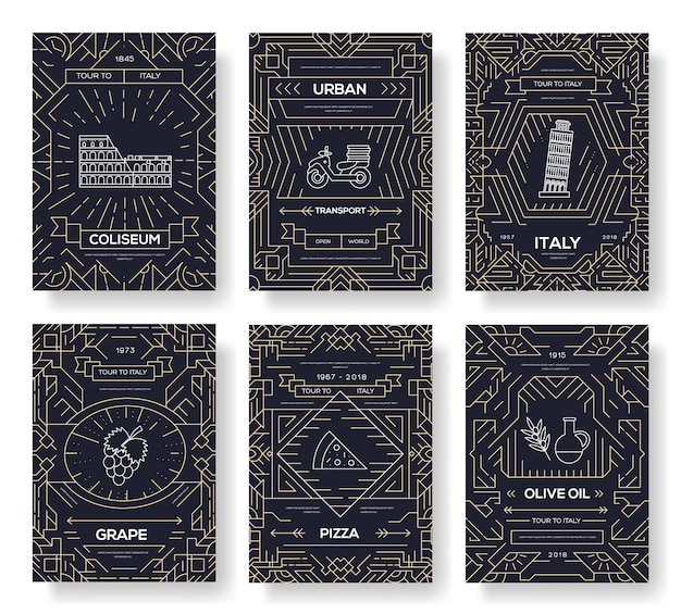 Broszura wektor włochy karty cienka linia zestaw. szablon podróży kraj ulotki, czasopisma, plakaty.