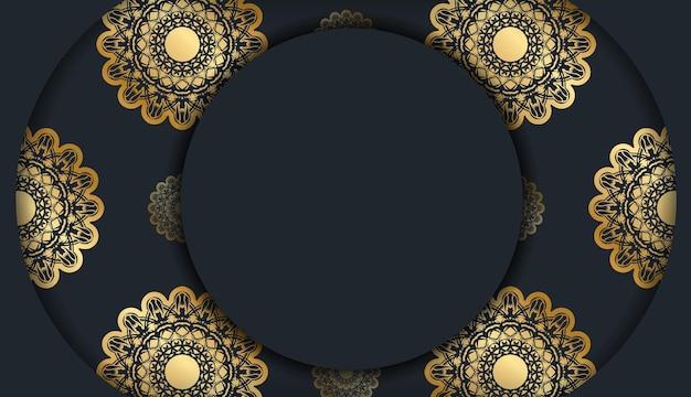 Broszura wydrukowana w kolorze czarnym z abstrakcyjnymi złotymi ornamentami.