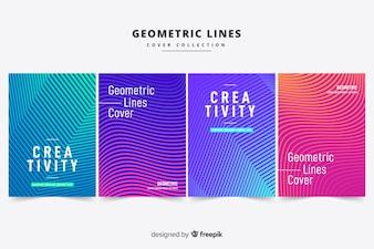 Broszura z liniami geometrycznymi