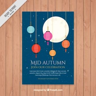 Broszura z mid-autumn festival z kolorowymi lampionami